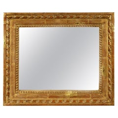 Empire Rectangular Handcrafted Gold Foil Wood American Mirror, 1700