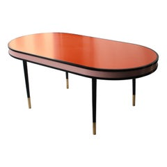 Contemporary Orange Black Pink Gold Wood Brass Spanish Dining Table, Spain 2016