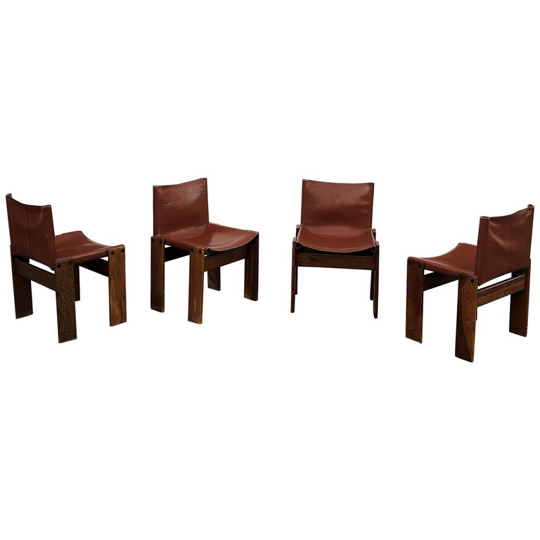 """Afra & Tobia Scarpa Midcentury """"Monk"""" Dining Chair for Molteni, 1973, Set of 4 For Sale"""