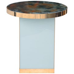 Contemporary Circular Green Blue Yellow Gold Crystal Spanish Side Table, 2016