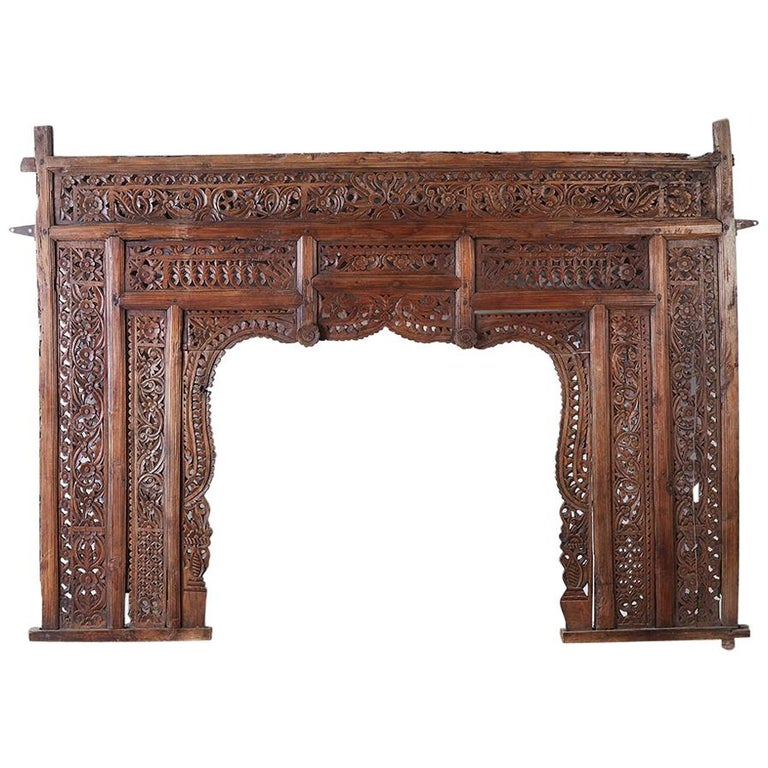 19th Century Indian Carved Wood Panel Window Surround For Sale
