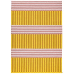 Striped Pink and Yellow Woven Rug by Sight Unseen for Kasthall, 6'x9'