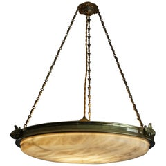 Antique Handcrafted Alabaster and Gilt Bronze Pendant Chandelier, circa 1900