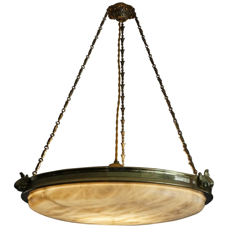 Antique Handcrafted Alabaster and Gilt Bronze Pendant Chandelier, circa 1900 For Sale