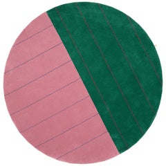 Round, Striped, Pink and Green Tufted Rug by Sight Unseen for Kasthall