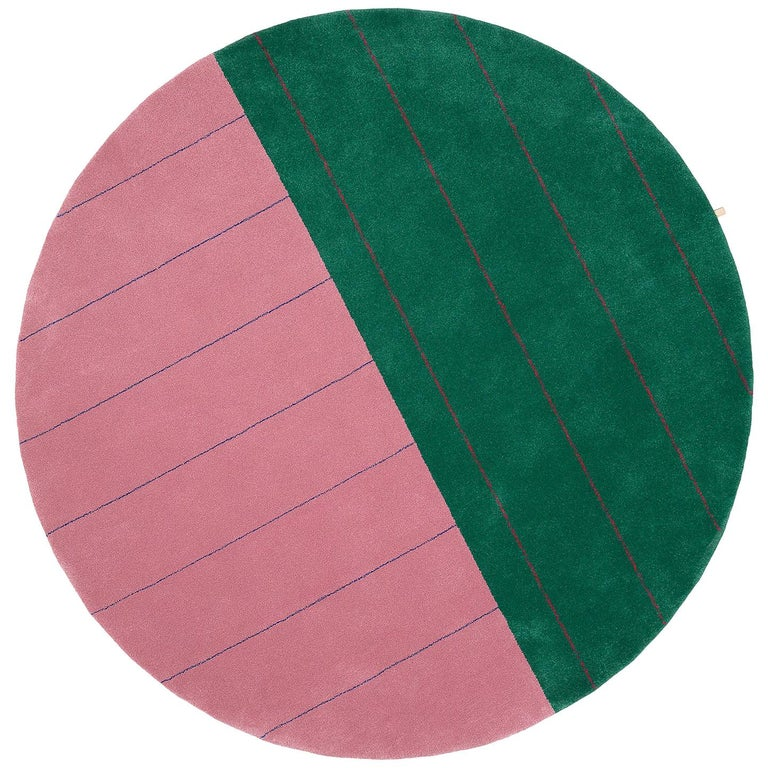 9' Round, Striped, Pink and Green Tufted Rug by Sight Unseen for Kasthall For Sale