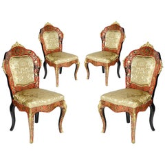 Rare Set of Four Boulle Side Chairs, 19th Century