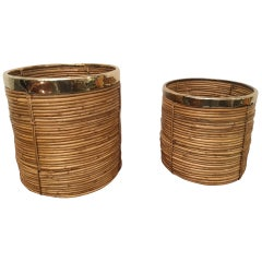 Two Rattan and Brass Planter, 1970s