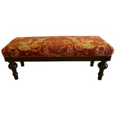 Luscious Vintage Kilim Bench with Handsome Walnut Base