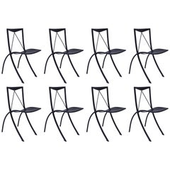 Eight Folding Dining Chairs Cattelan Italia Black Leather Vintage, 20th Century