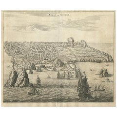 Antique Print of Angra 'Azores' by A. Montanus, 1671