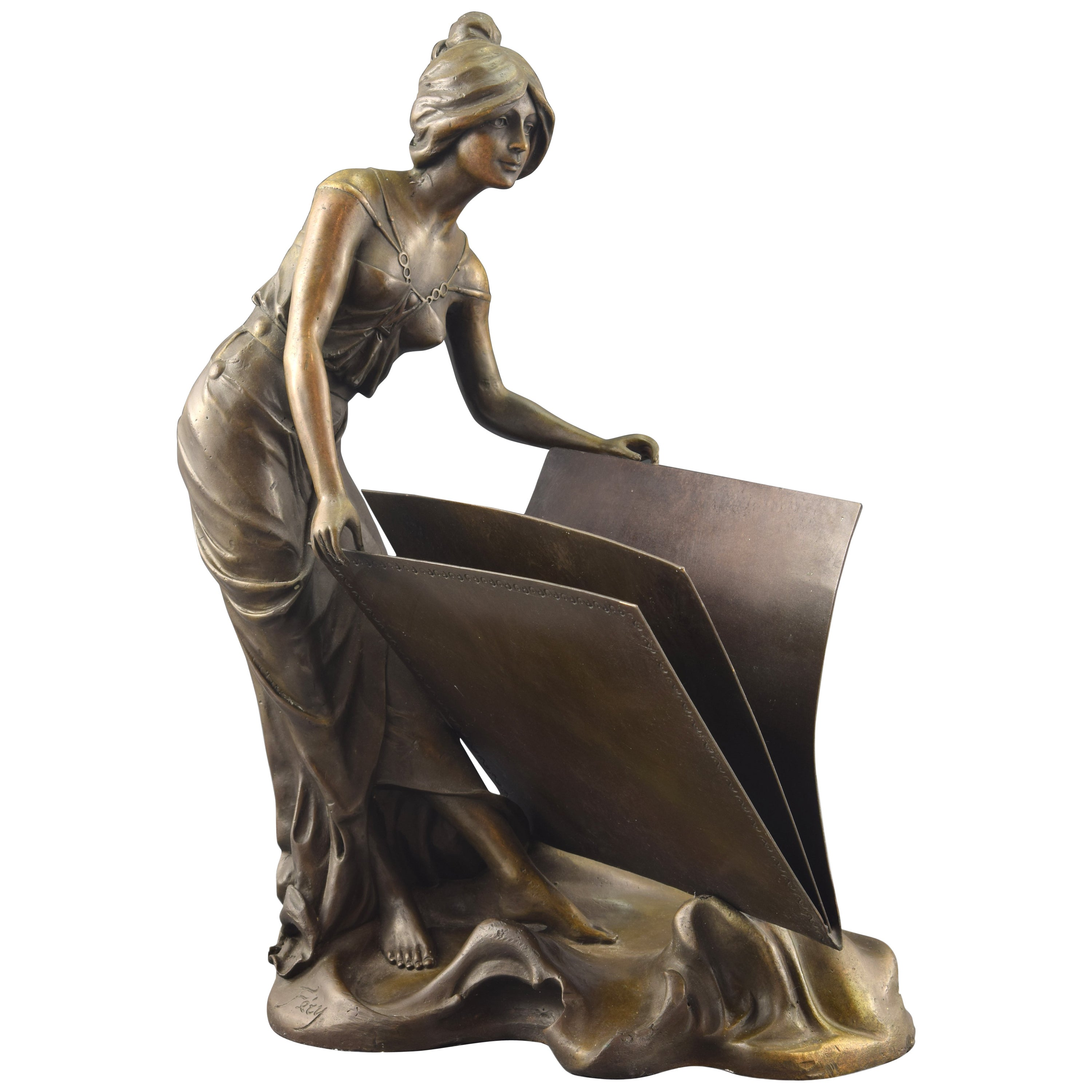"""Lady with a Book"", Bronze, Inspired by Art Deco Models"