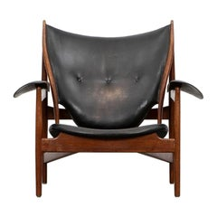 1940s Teak and Black Leather Chieftain's Chair by Finn Juhl