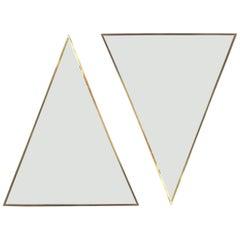 Large Pair of Triangular Bronze Tinted Wall Mirrors Brass, Italy Midcentury