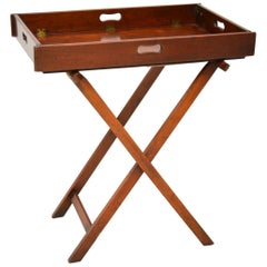 Antique Mahogany Tray Top Butlers Stand or Side Table
