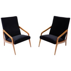 Pair of French Wooden Black Velvet Chairs, 1960s