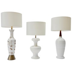 Set of 3 American Vintage White Ceramic Table Lamps