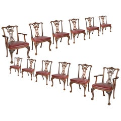 Set of 12 Chippendale Style Mahogany Dining Chairs