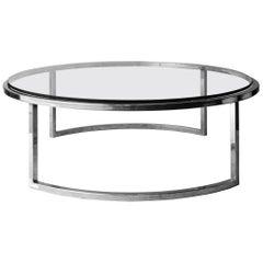 Mid-Century Modern Circular Grey Chrome Glass Steel Italian Center Table, 1960