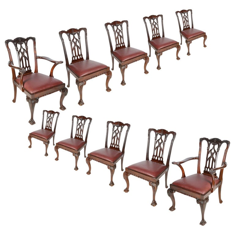 Chippendale Mahogany Dining Room Chairs: 10 Chippendale Revival Mahogany Dining Chairs, Circa 1900