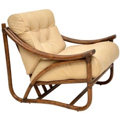 1970s Vintage Leather and Bamboo Armchair