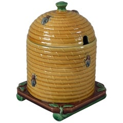 Minton Majolica Beehive Honey Pot and Cover