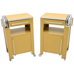 1970s Pair of Vintage Steel Side Cabinets/Tables