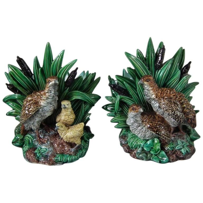 Rare Pair of Hugo Lonitz Majolica Partridge and Chicks Planters For Sale