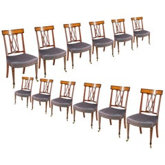 12 Sheraton Revival Dining Chairs, 19th Century