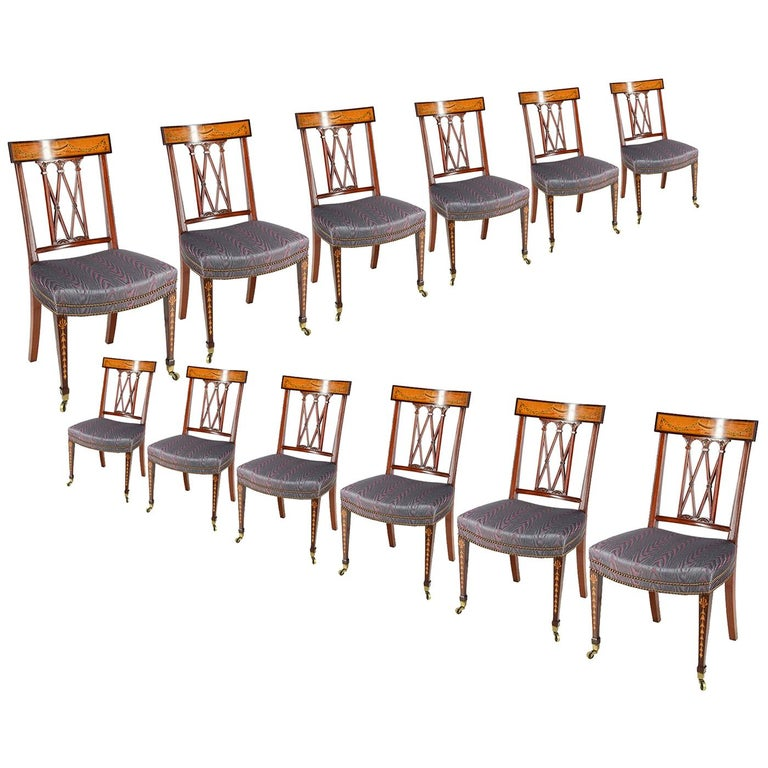 12 Sheraton Revival Dining Chairs, 19th Century For Sale