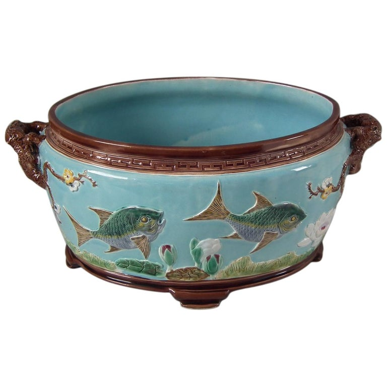 Holdcroft Oval Majolica Fish and Lilies Jardinière For Sale