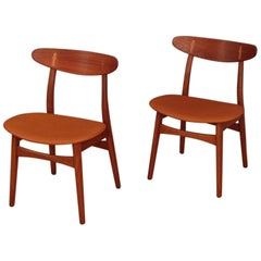Pair of Hans Wegner CH30 Oak, Teak and Leather Chairs for Carl Hansen & Son