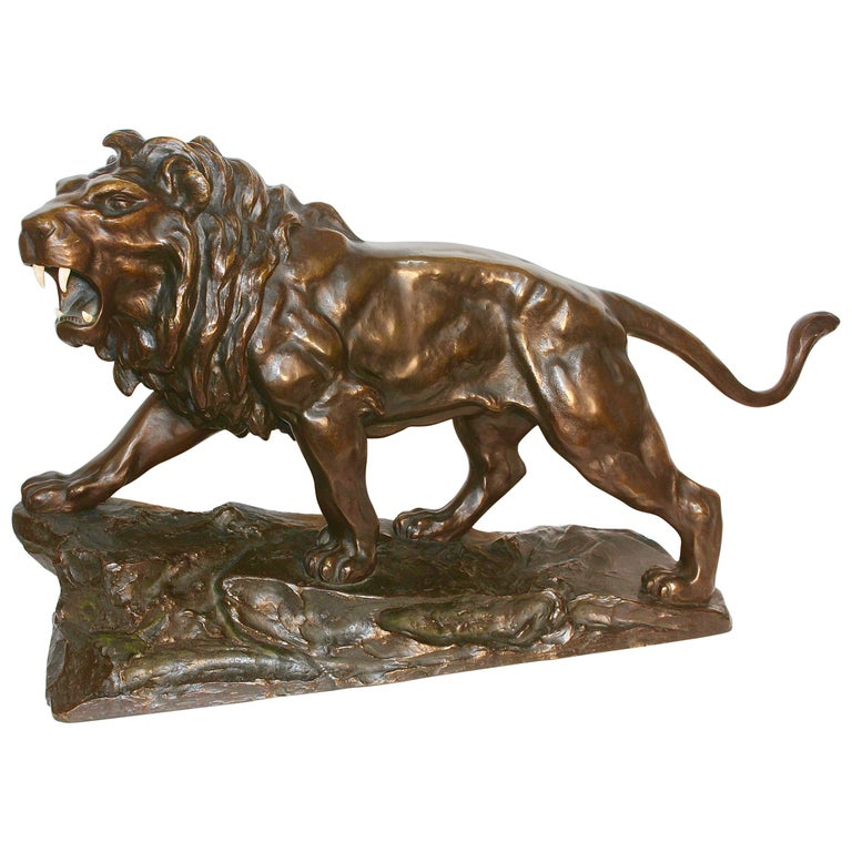 Large, Antique and Very Fine Bronze Sculpture, Striding, Roaring Lion For Sale