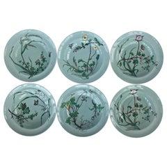 6 19th Century Minton Celadon Aesthetic Movement Botanical Soup Bowls circa 1878