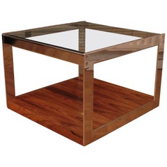 Richard Young for Merrow Associates Rosewood, Chrome and Glass Side Table