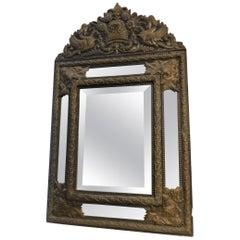 18th Century Vintage Antique Mirror with Metal Frame, Embossed, Brown