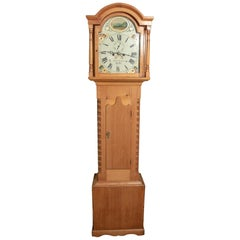 Rare Pine Eight Day Single Bell Longcase Clock by Isaac Lazarus