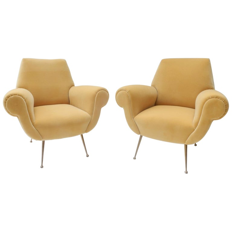 Pair of Italian Mid-Century Modern Style Armchairs in Yellow Velvet For Sale