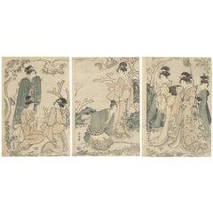 Floating World Art, Original Japanese Woodblock Print, Beauty, Edo Period, Waves