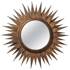 French Artisanal Sunburst Mirror, 1970s