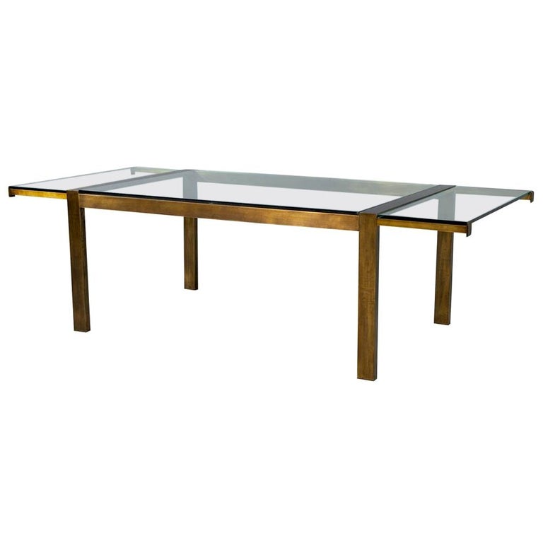 Original Vintage Mastercraft Aged Brass Dining Table For Sale