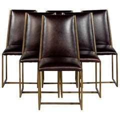 Set of 6 Brass Patinated Dining Chairs by Mastercraft
