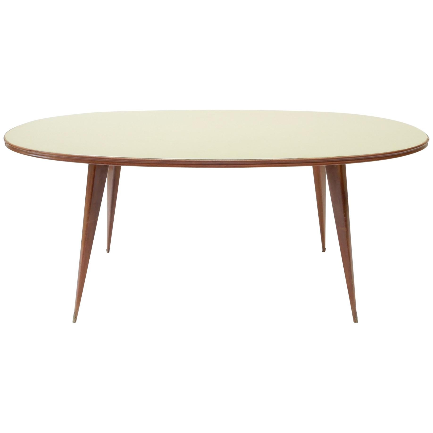 Italian Console or Dining Table with Opaque Glass Top, 1960s