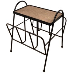 Black Lacquered Metal and Rattan Magazine Rack, French, circa 1950