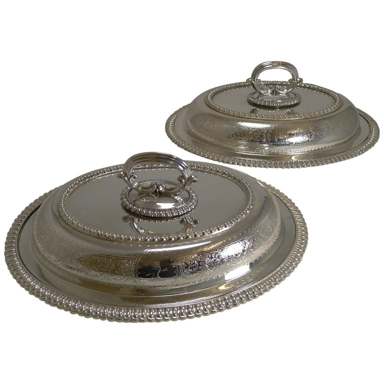 Pair of Elkington Silver Plated Entree/Serving Dishes, 1884 For Sale