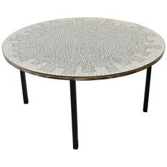 Circular German Ceramic Tiled Coffee Table with Metal Base, 1960s