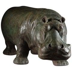 Chinese 19th Century Terracotta Hippopotamus Patinated to Simulate Bronze