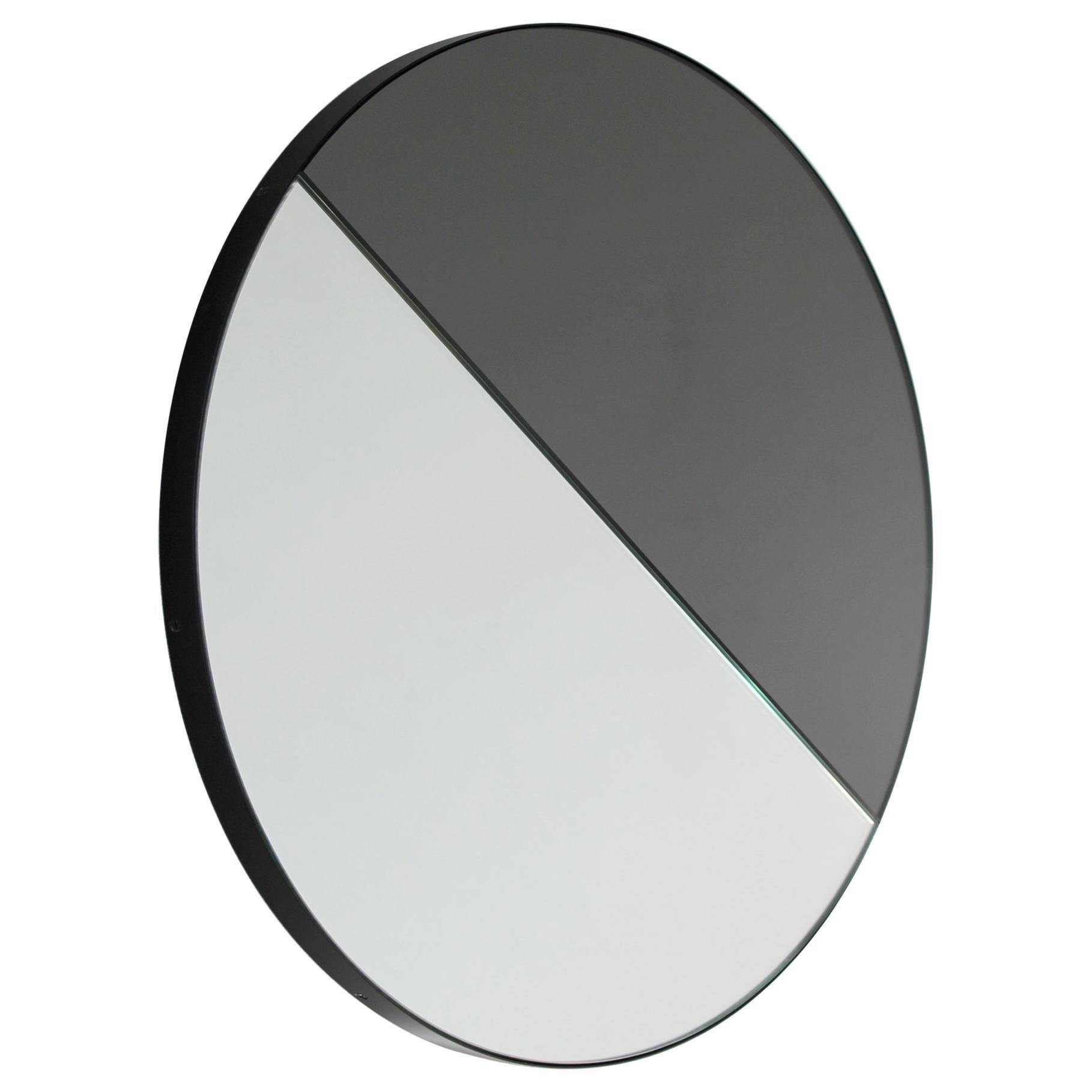 Orbis Dualis™ Mixed Tint (Silver + Black) Round Mirror with Black Frame -Regular