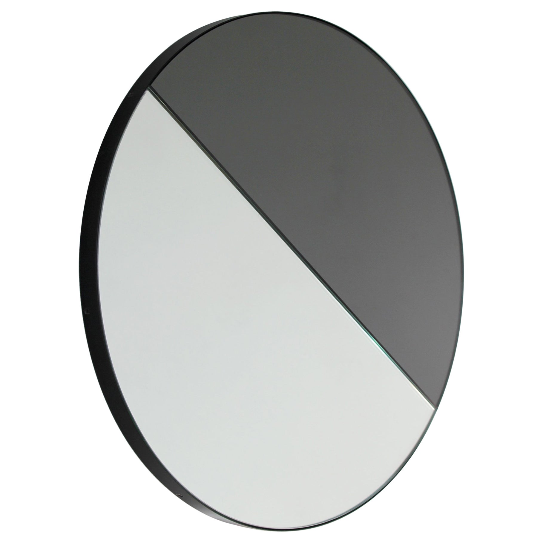 Orbis Dualis™ Mixed Tint (Silver + Black) Round Mirror with Black Frame -Regular