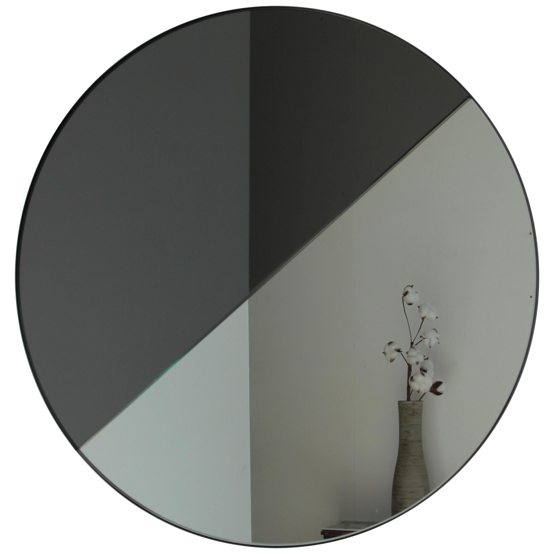 Orbis Dualis™ Mixed Tint (Silver + Black) Round Mirror with Black Frame -Medium